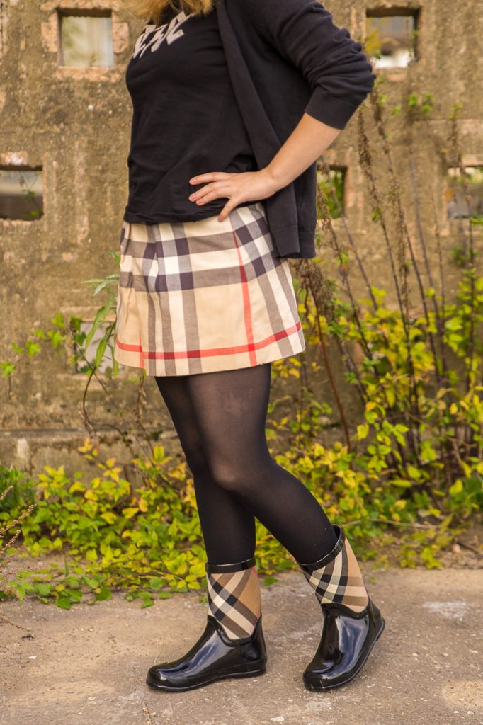 Burberry Gummistiefel Outfit Herbst