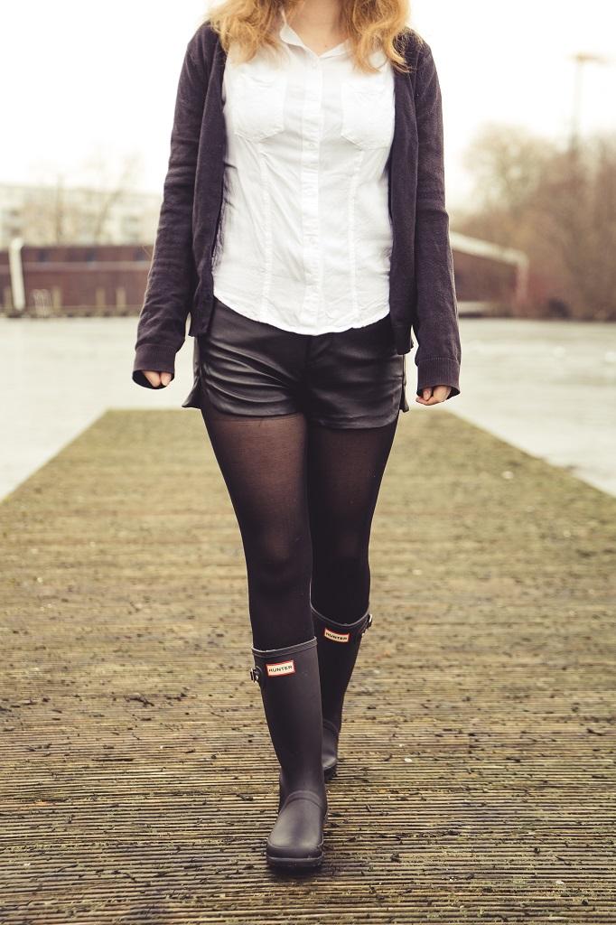 Gummistiefel Frühling Hunter Outfit Leder 2