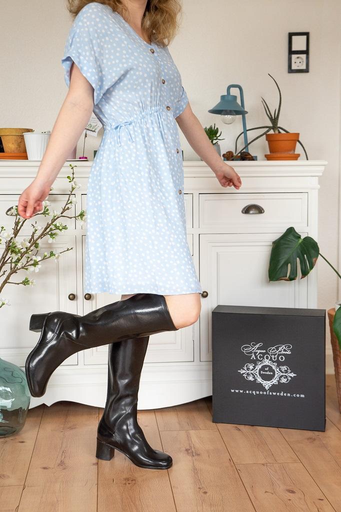 Gummistiefel mit Absatz Outfit