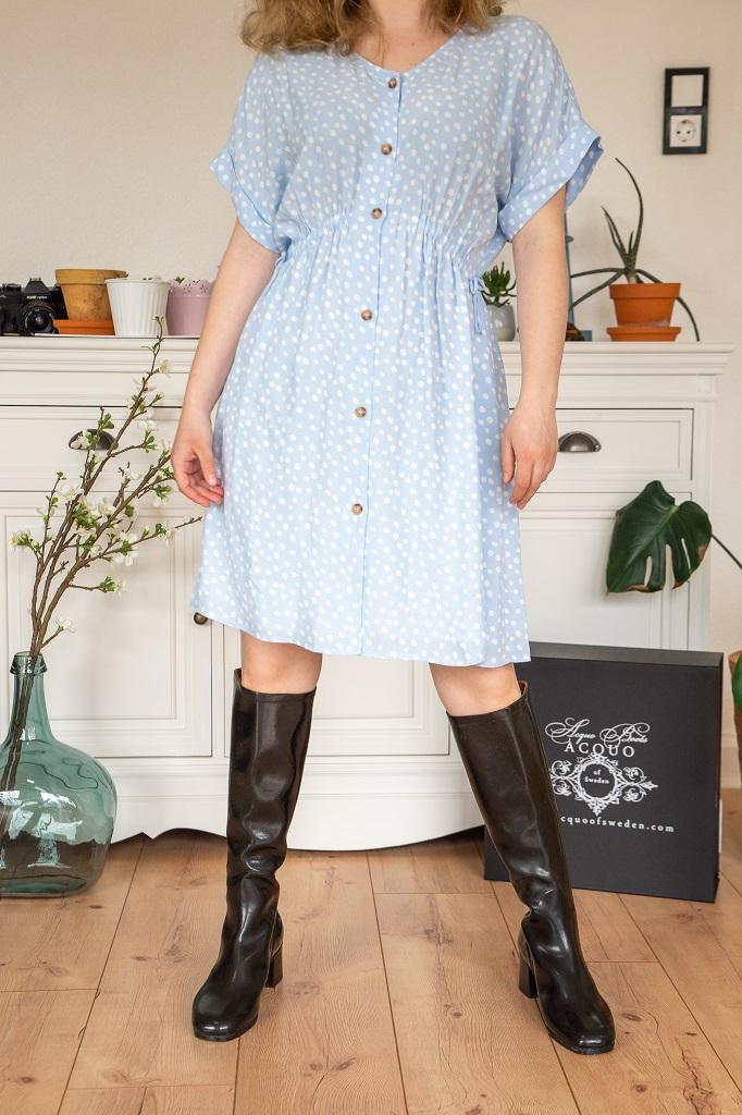 Zara Petite Kleid Outfit Absatzgummistiefel