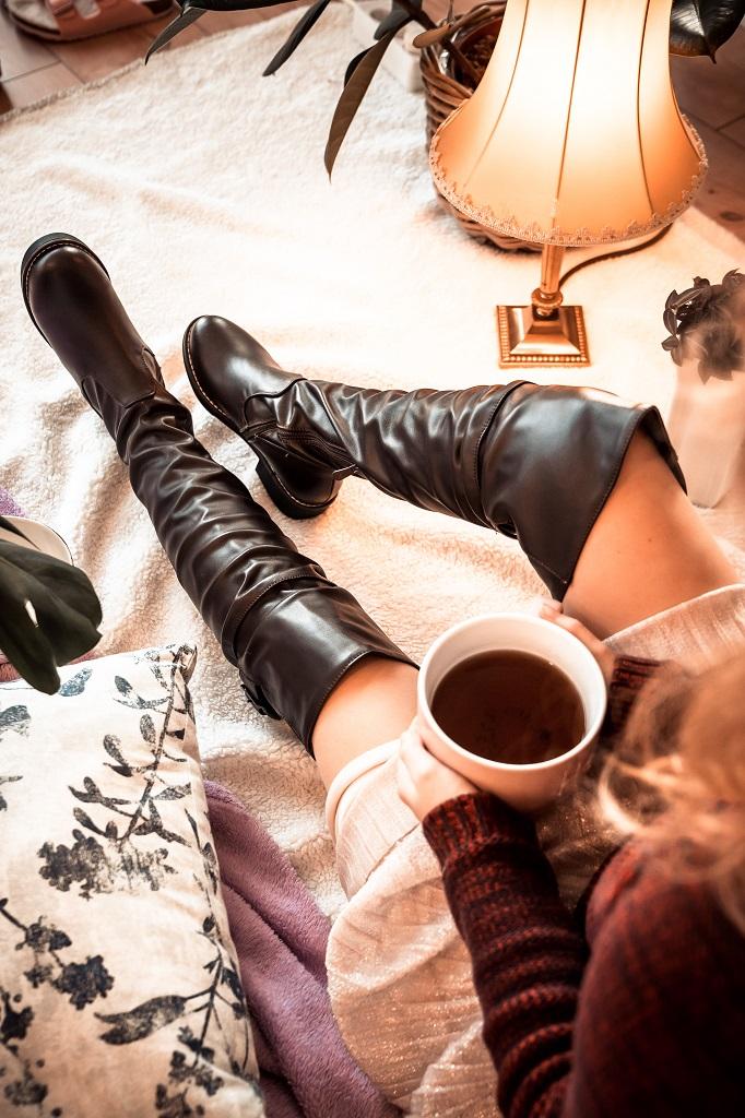 Footing Overkneestiefel für kleine Frauen Untergröße