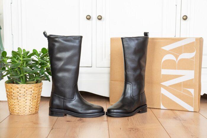 Flache Lederstiefel Zara Untergröße Damen Kinder Herbst Winter 2021 2022