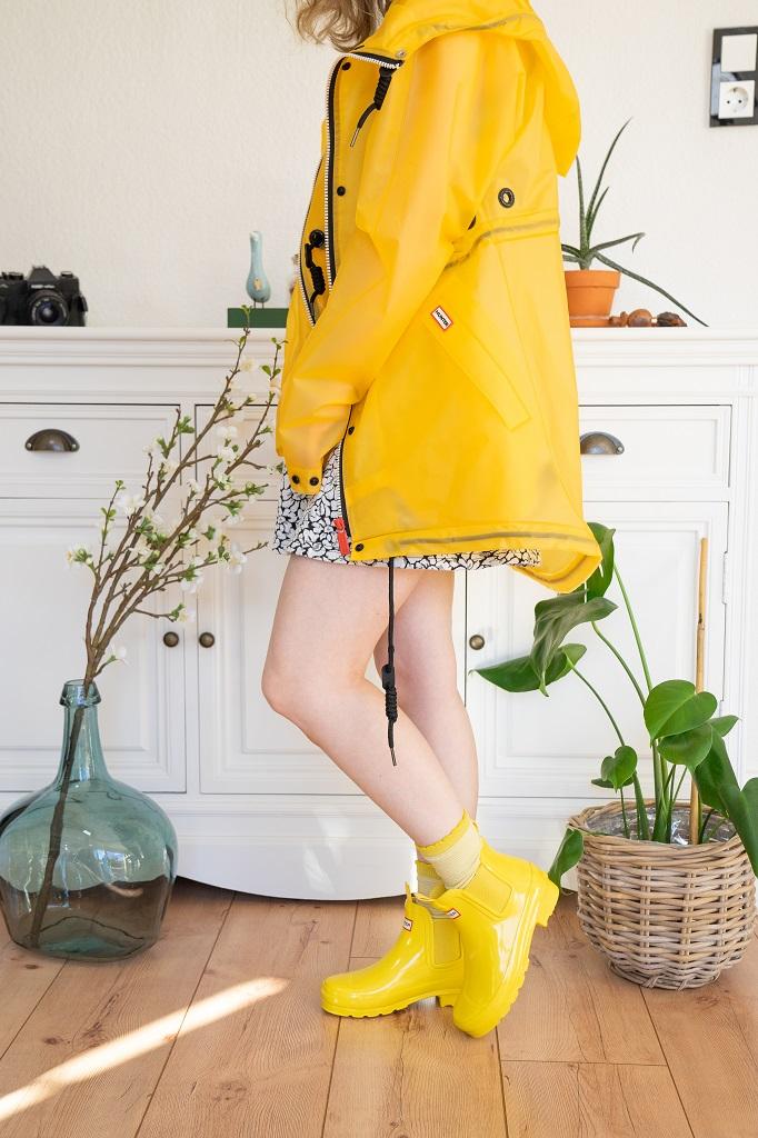 Hunter Original Chelsea Gummistiefeletten Gelb Regenjacke